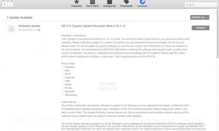 OS X 10.11.2 엘 캐피탄 베타3 개발자 대상 배포